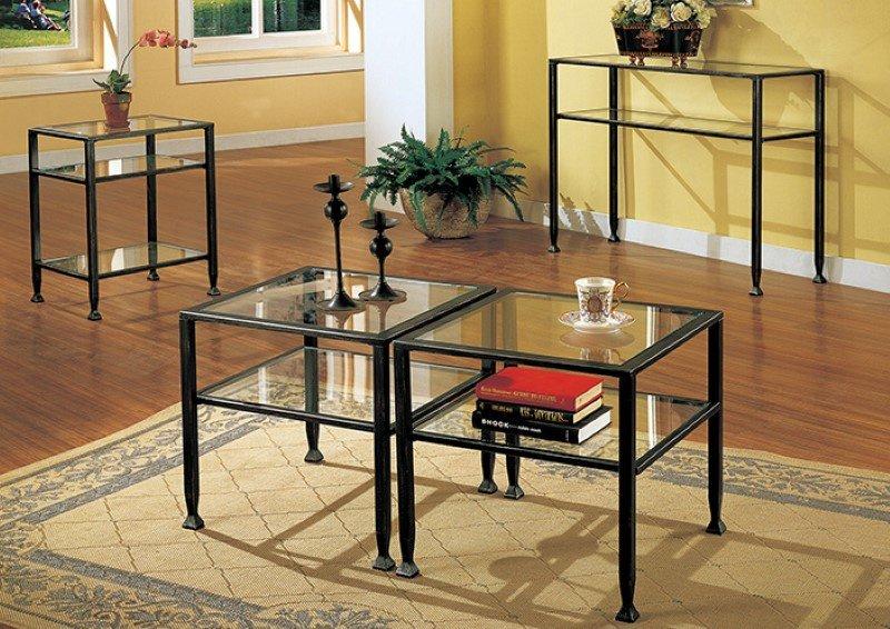 Southern Enterprises Metal & Glass Bunching Cocktail Table