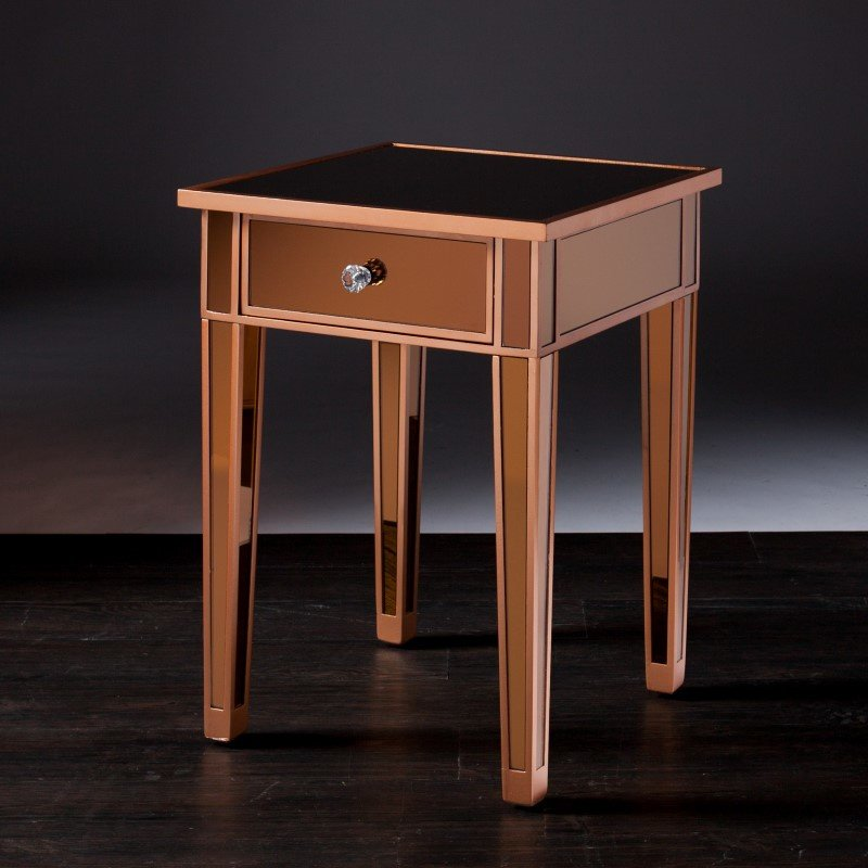 Southern Enterprises Mirage Colored Mirror Accent Table in Bronze