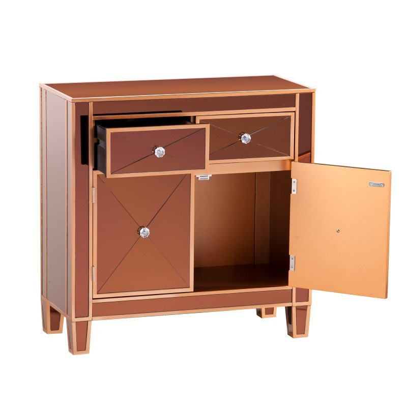 Southern Enterprises Mirage Colored Mirrored Cabinet in Bronze