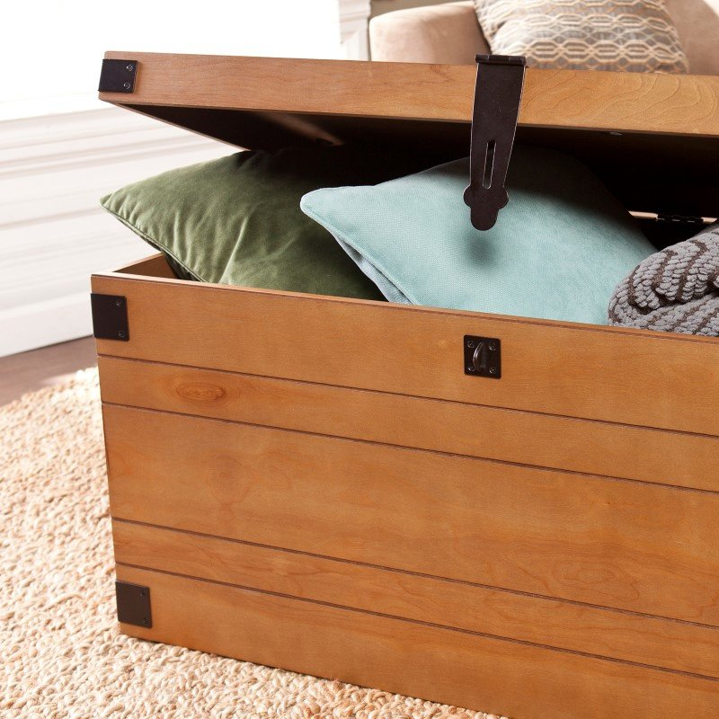 Southern Enterprises Notch Groove Trunk Cocktail Table