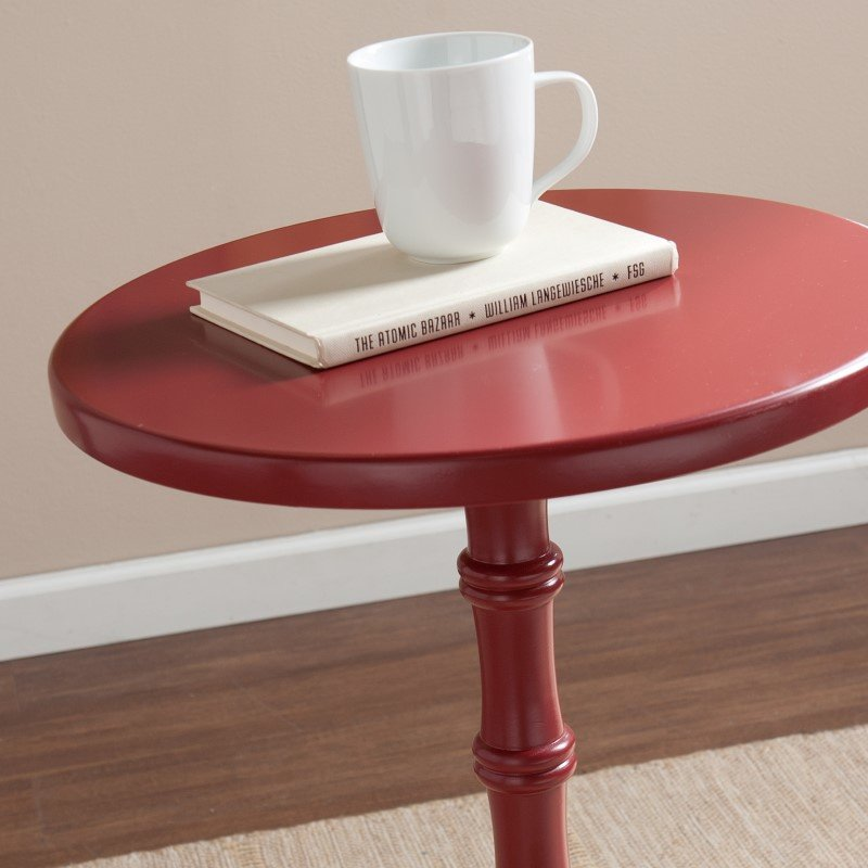 Southern Enterprises Rossum Round Accent Table in Red