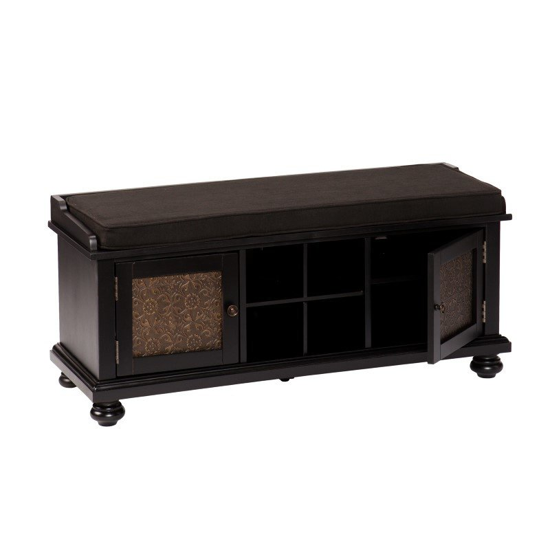Southern Enterprises Sarona Embossed-Door Storage Bench