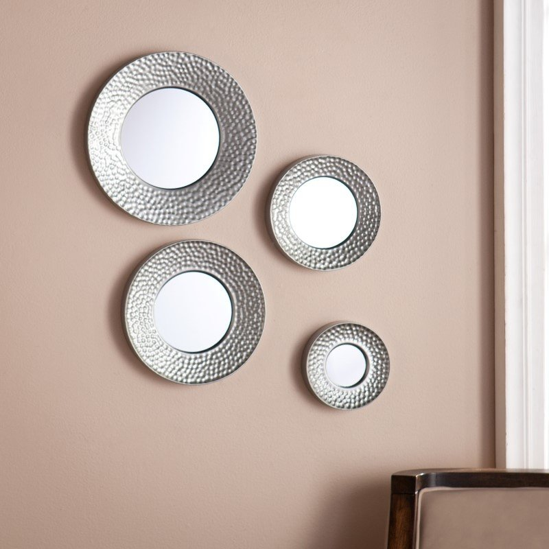 Southern Enterprises Silver Sphere Wall Mirror 4 Piece Set in Hammered Silver