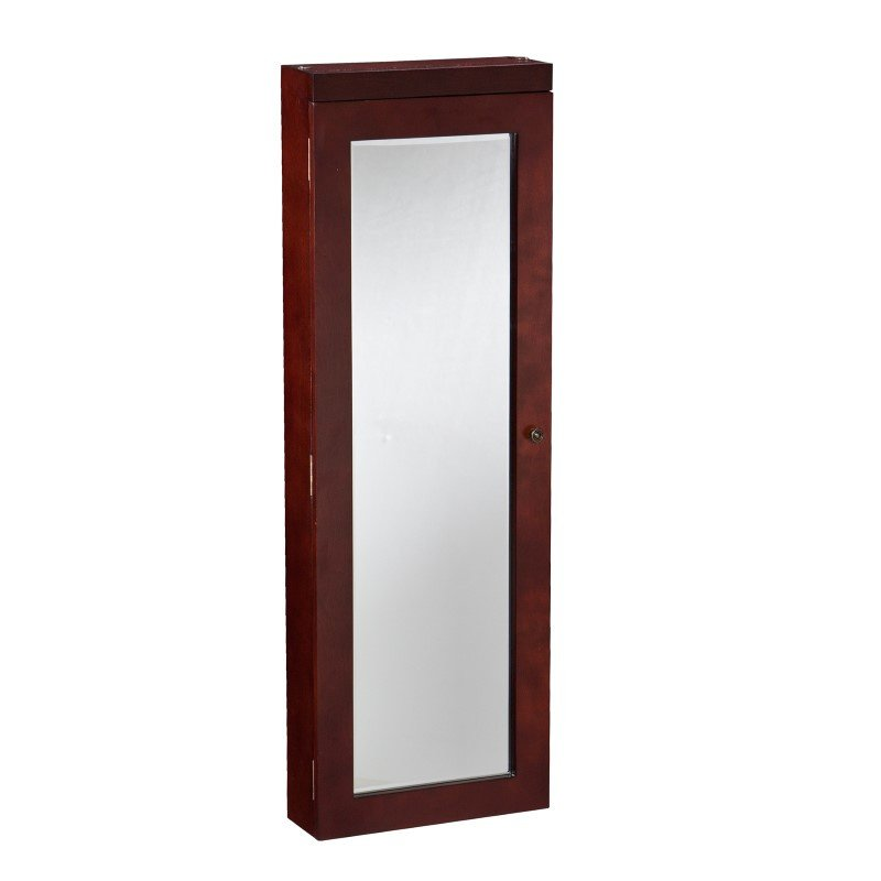 Southern Enterprises Stanfield Lighted Jewelry Mirror in Cherry