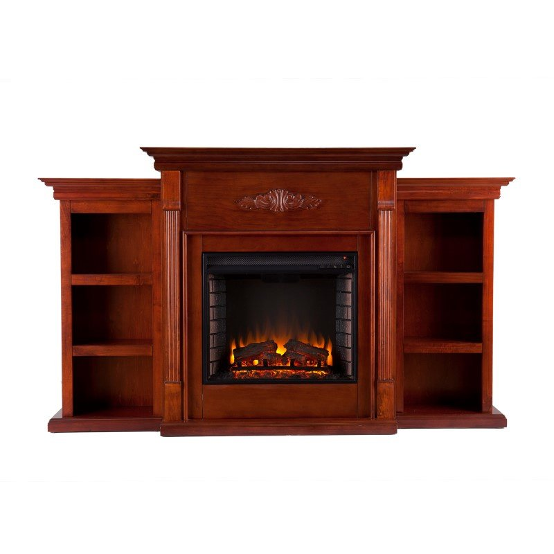 Southern Enterprises Tennyson Electric Fireplace with Bookcases in Classic Mahogany