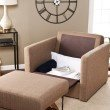 Southern Enterprises Tyndall Sleeper Chair with Storage in Nutmeg
