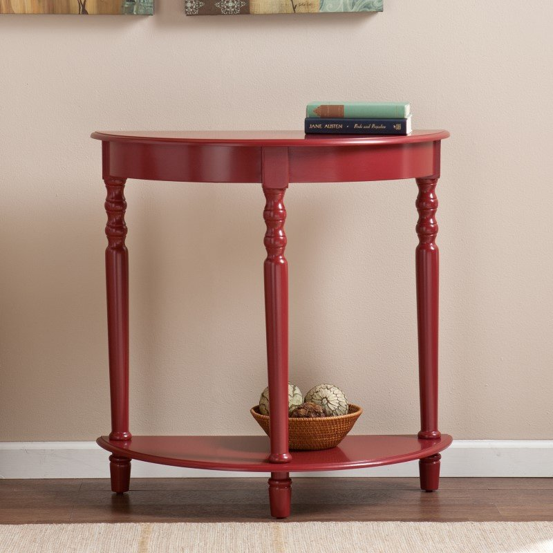 Southern Enterprises Tyra Demilune Table in Red