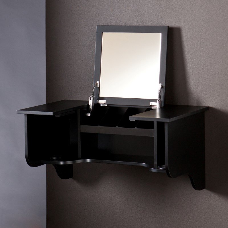 Southern Enterprises Wall Mount Ledge with Vanity Mirror in Black
