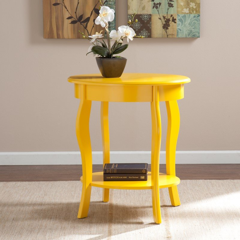 Southern Enterprises Watts Oval Accent Table in Yellow