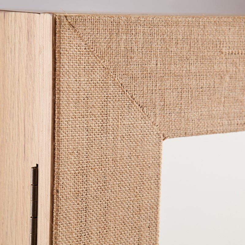 Southern Enterprises Westby Wall Mount Jewelry Mirror in Linen Trim