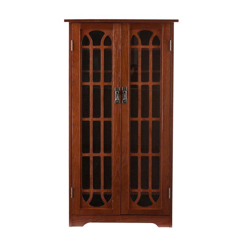 Southern Enterprises Window Pane Media Cabinet in Oak