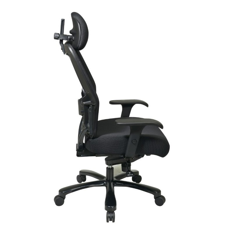 Space Seating Big and Tall Professional AirGrid Back and Black Mesh Seat with Adjustable Headrest