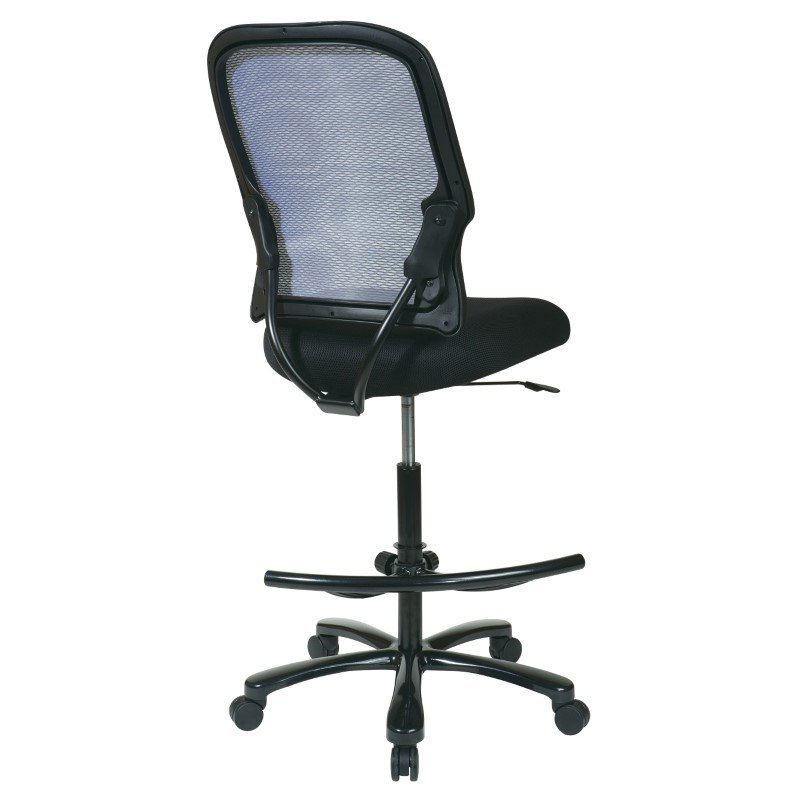 Space Seating Big Man's Dark AirGrid Back with Black Mesh Seat Double Layer Seat Drafting Chair (No Arms)