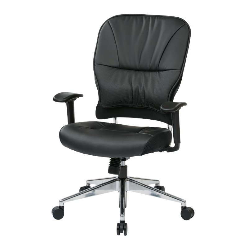 Space Seating Black Bonded Leather Managers Chair in Black