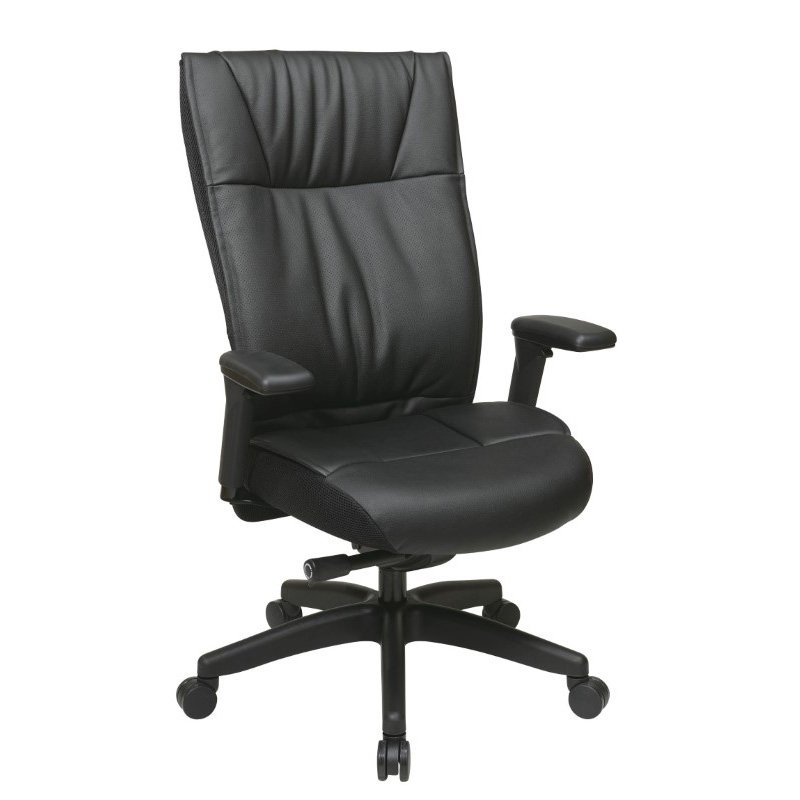 Space Seating Contemporary Leather Executive Chair with PU Padded Adjustable Arms' Layered Seat and Back and Nylon base