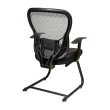 Space Seating Deluxe R2 SpaceGrid Back Visitors Chair with Fixed Arms and Molded Foam Bonded Leather Seat' Nylon Metal Sled Base