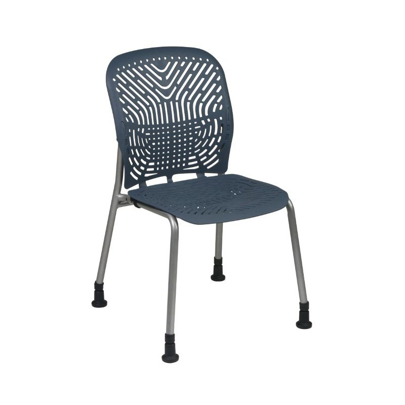 Space Seating Deluxe SpaceFlex Blue Mist Seat and Back Visitors Chair with Platinum Frame and Glides (Set of 2)