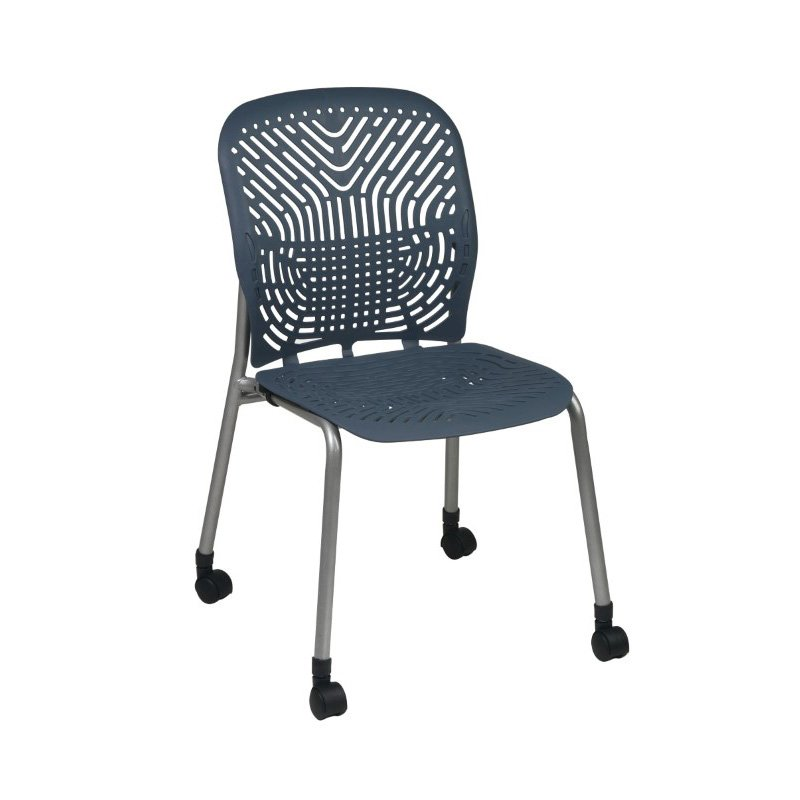 Space Seating Deluxe SpaceFlex Flex Blue Mist Seat and Back Visitors Chair with Platinum Frame and Casters (Set of 2)