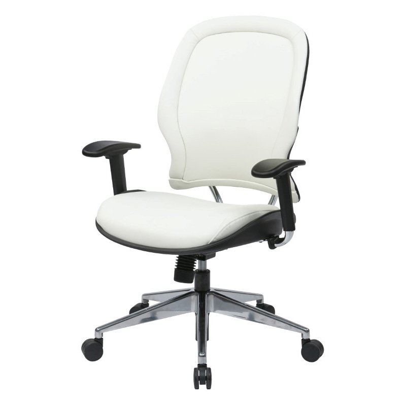 Space Seating Deluxe White Vinyl Back and Seat Managers Chair
