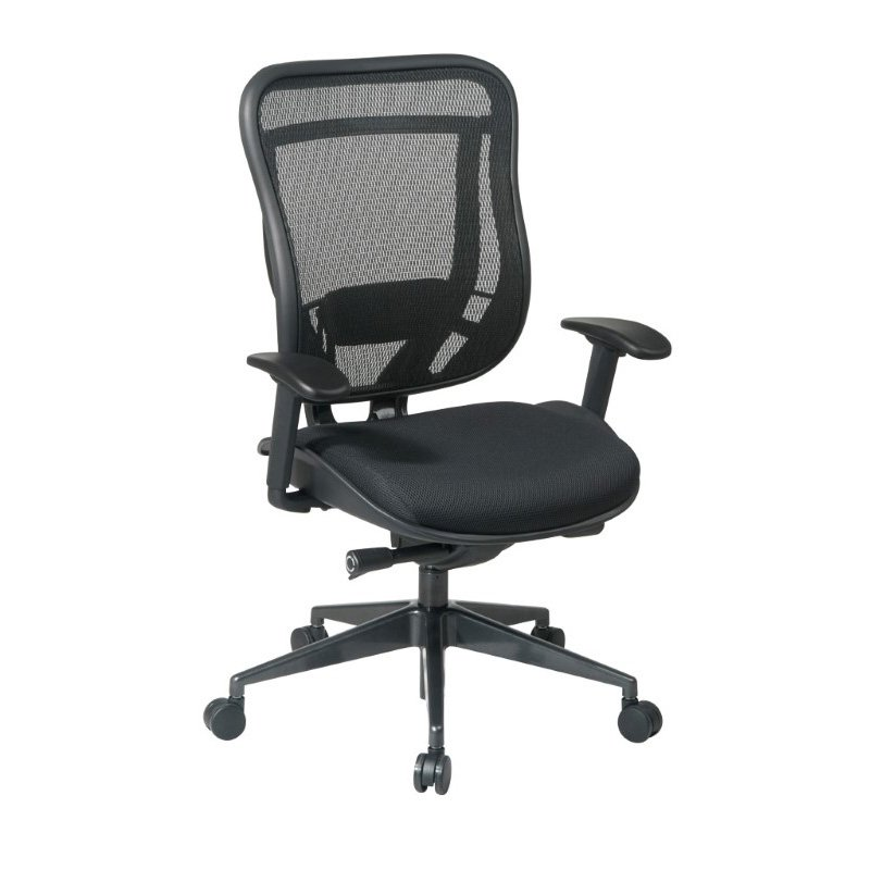 Space Seating Executive High Back Chair with Breathable Mesh Back and Mesh Seat with GunMetal Finish Angled Base