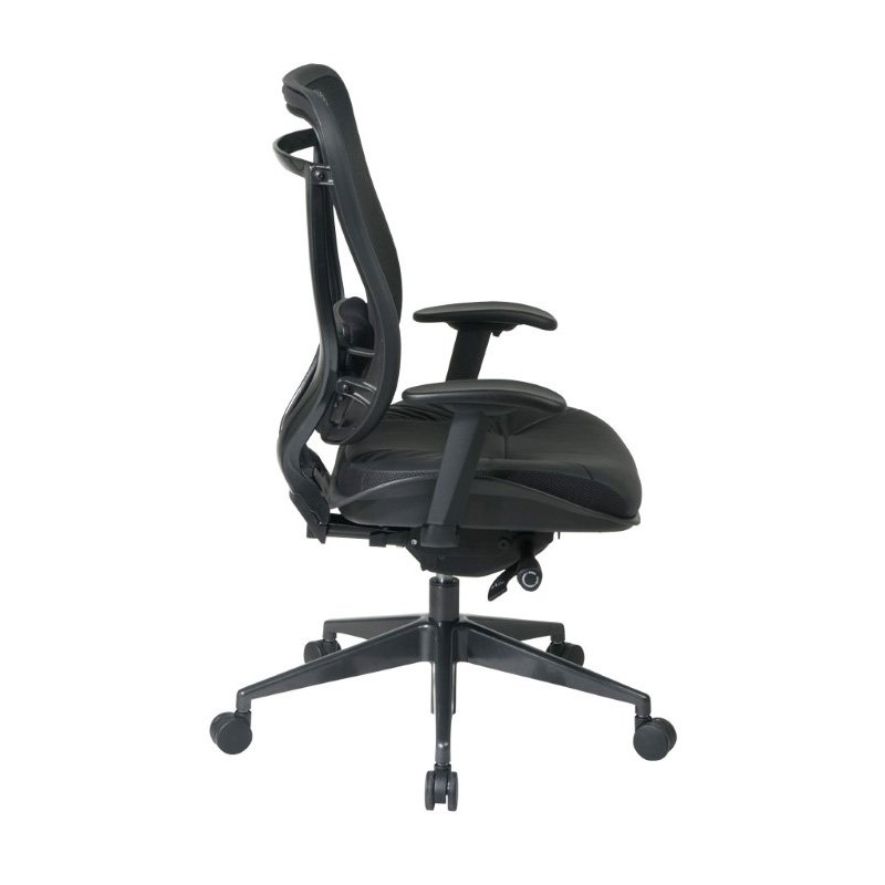 Space Seating Executive High Back Chair with Breathable Mesh Back and Top Grain Genuine Leather Seat with GunMetal Finish Angled Base