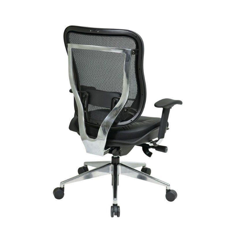 Space Seating Executive High Back Chair with Breathable Mesh Back and Top Grain Genuine Leather Seat with Polished Aluminum Finish Base