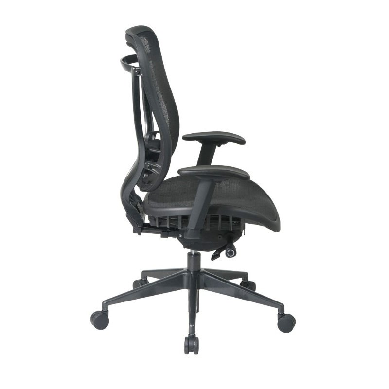 Space Seating Executive High Back Chair with Breathable Mesh Seat and Back with GunMetal Finish Angled Base