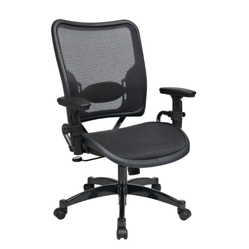 Space Seating Professional AirGrid Seat and Back Chair with GunMetal Finish Accents