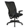 Space Seating Professional Black Mesh Executive Chair with Soft PU Padded Adjustable Arms and Deluxe Nylon Base