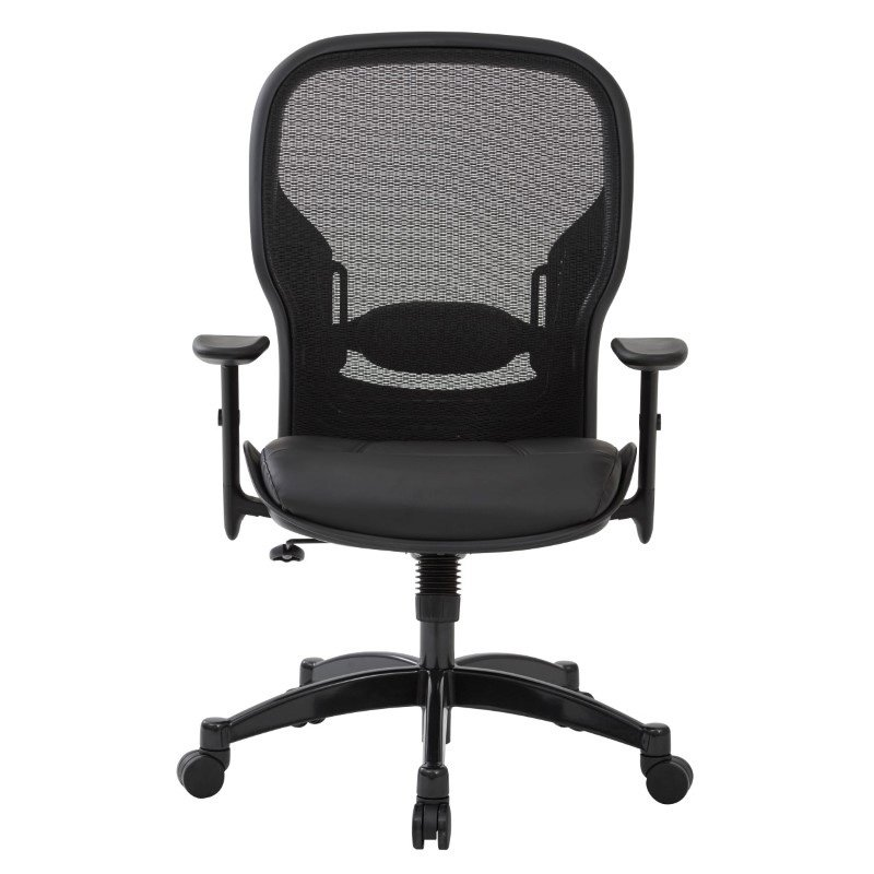Space Seating Professional Breathable Mesh Back Chair with Bonded Leather Seat