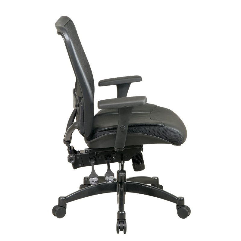 Space Seating Professional Breathable Mesh Black Back and Layered Leather Seat Ergonomic Chair with Adjustable Lumbar Support