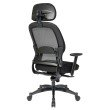 Space Seating Professional Deluxe Black Breathable Mesh Back Chair with Adjustable Headrest and Mesh Seat