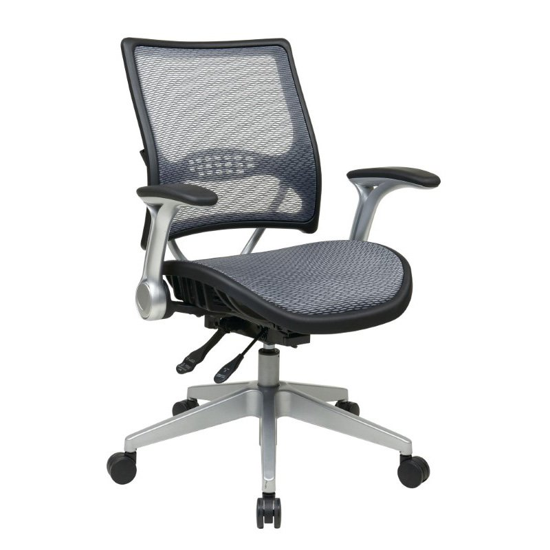 Space Seating Professional Light AirGrid Back and Seat Managers Chair with Flip Arms and Angled Platinum Coated Base