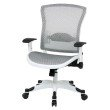 Space Seating White Frame Managers Chair with Padded Mesh Seat and Back' Height Adjustable Flip Arms and Coated Nylon Base in White