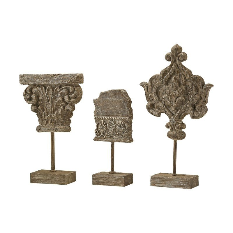 Sterling Industries Auvergne Finials in Aged Corbel Stone (Set of 3)