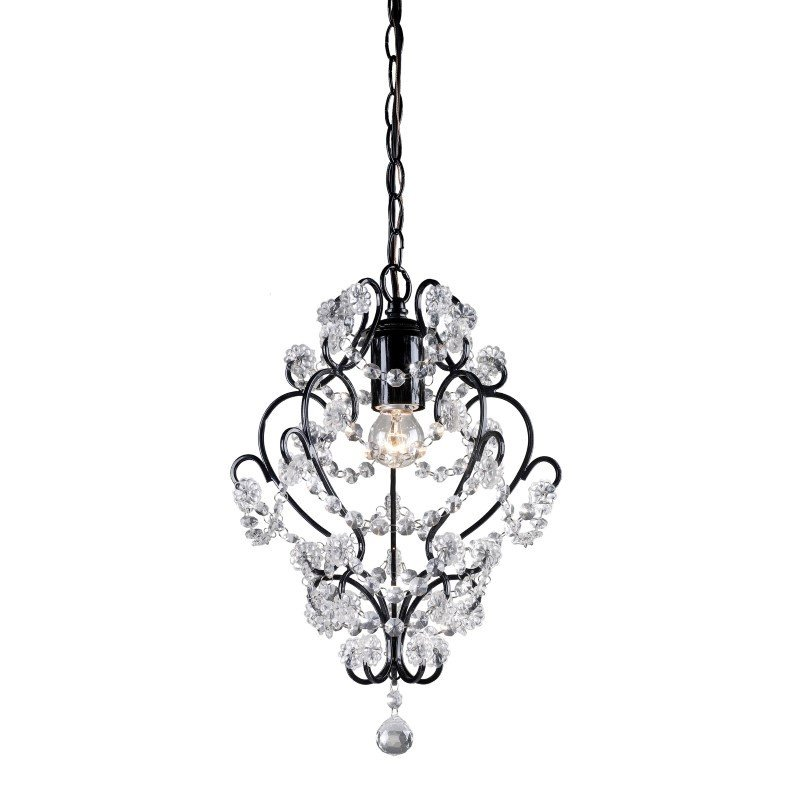 Sterling Industries Black Framed and Clear Crystal Mini Pendant Lamp