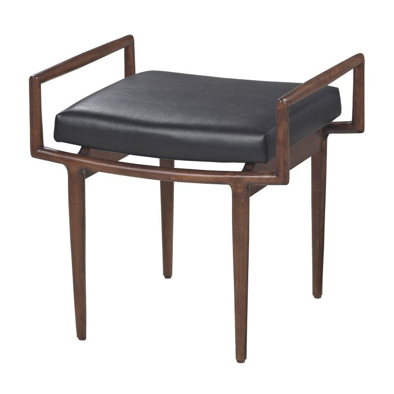 Sterling Industries Blackinton Mid-Century Ottoman in Dark Cherry and Black By