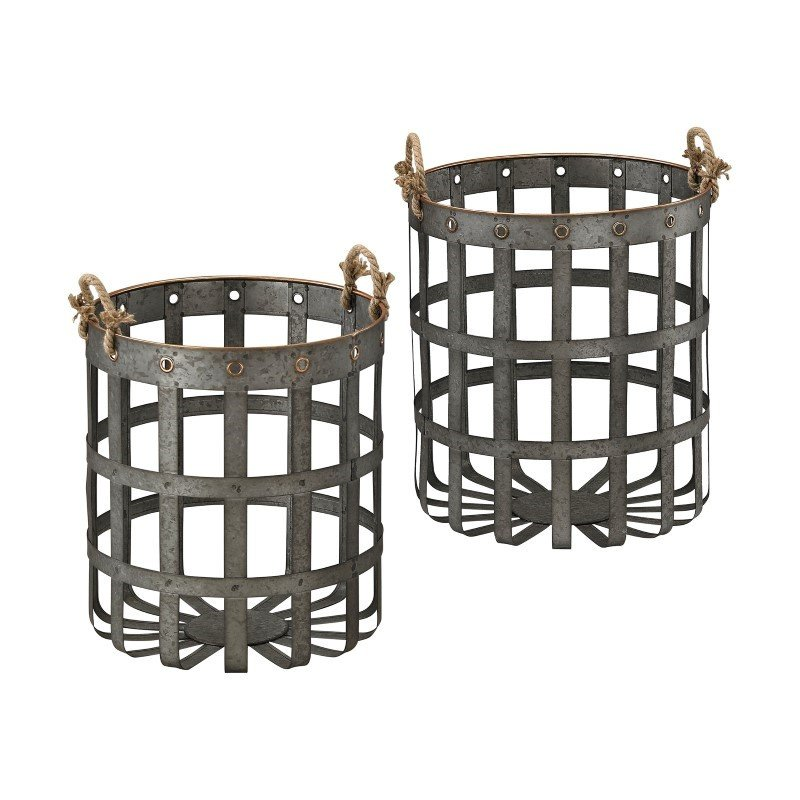 Sterling Industries Caxton Baskets in Aged Iron with Gold Highlights