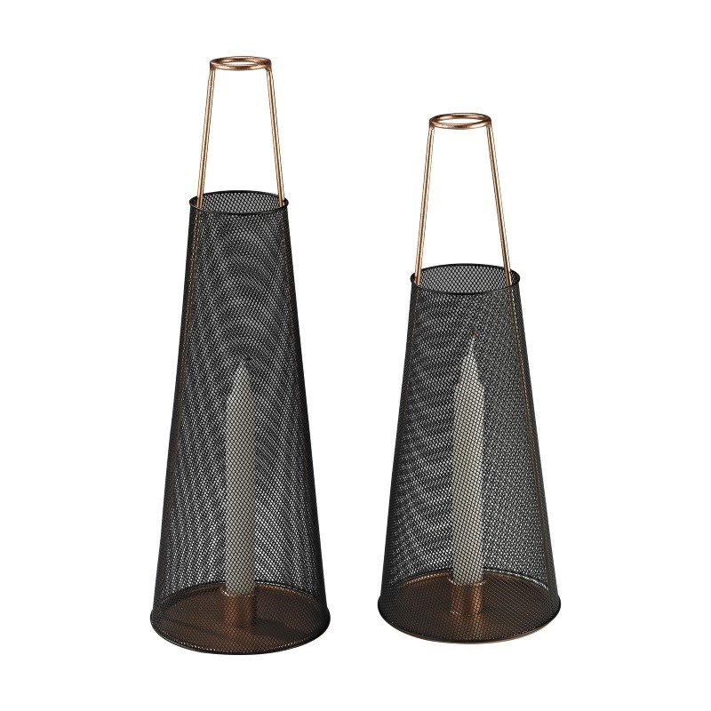 Sterling Industries Dusk Candle Holders in Black and Copper - Set of 2