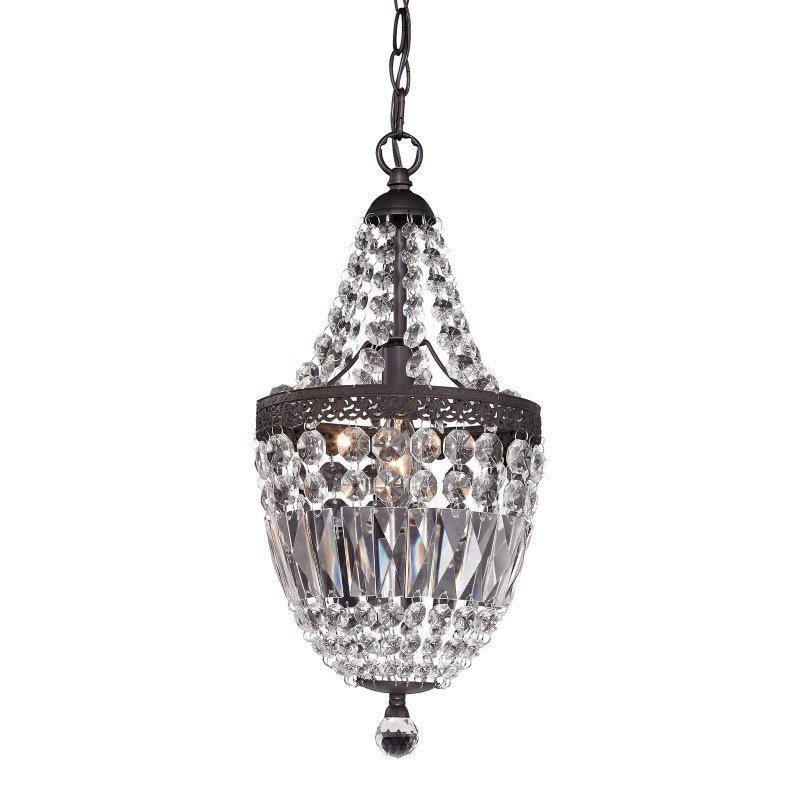 Sterling Industries Mini Chandelier in Dark Bronze and Clear