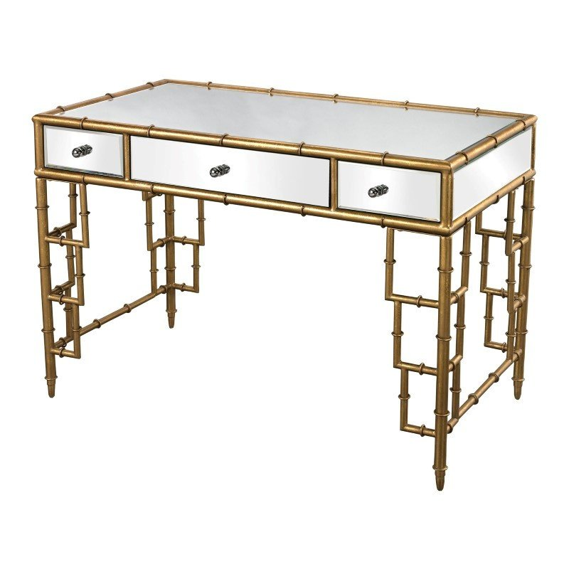 Sterling Industries Mirror Top Desk with Bamboo Frame in Gold Leaf