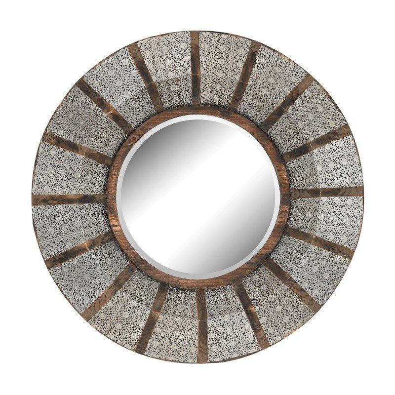 Sterling Industries Pierced Metal Frame Work and Wood Mirror