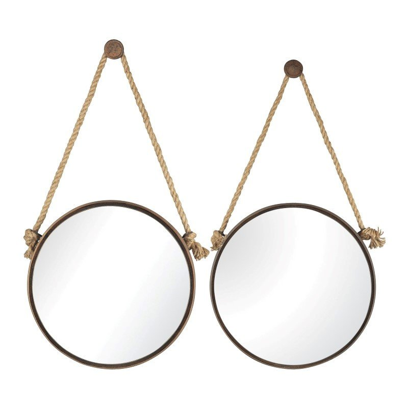 Sterling Industries Round Mirrors On Rope (Set of 2)