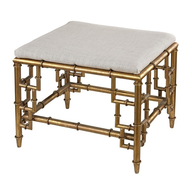 Sterling Industries Stool with Bamboo Frame in Gold Leaf and Linen Seat