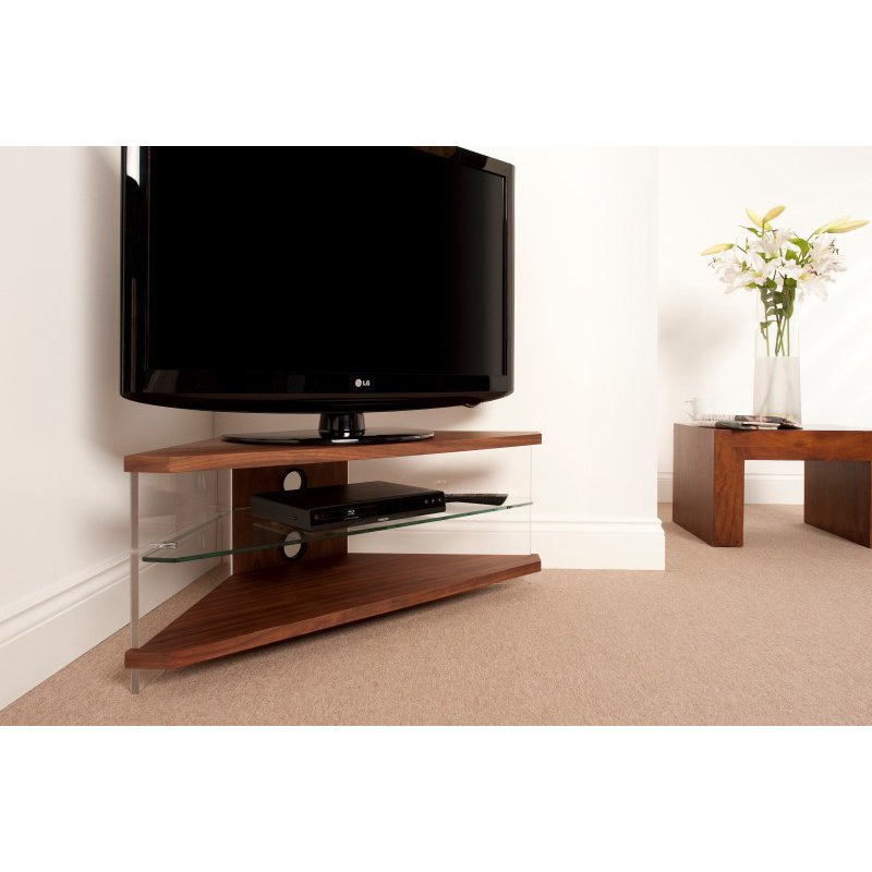 """Techlink Air Corner TV Stand with Walnut Frame and Clear Glass Sides and Shelf for Screens up to 55"""" (AI110WC)"""