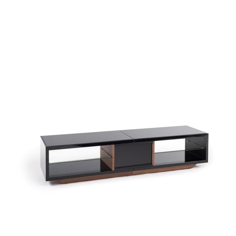 """Techlink Arena TV Stand High Gloss Black Carcass with a Walnut Draw Front and Plinth for Screens up to 75"""" (AA150BW)"""