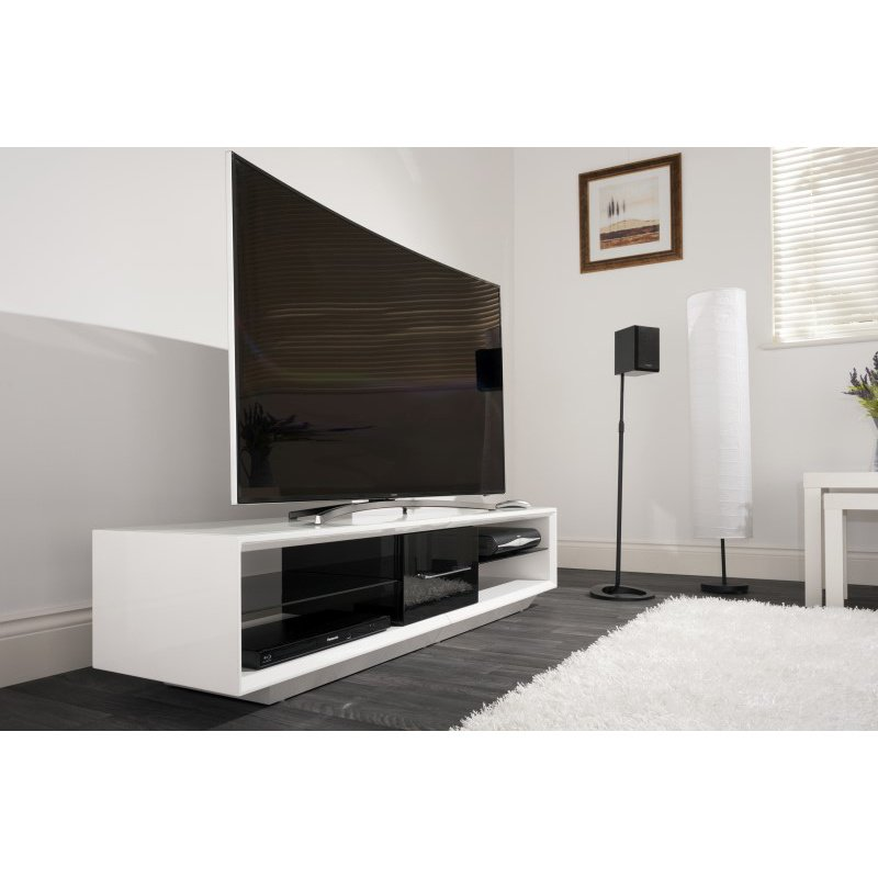 """Techlink Arena TV Stand High Gloss White Carcass with a Black Draw Front and Plinth for Screens up to 75"""" (AA150WTB)"""
