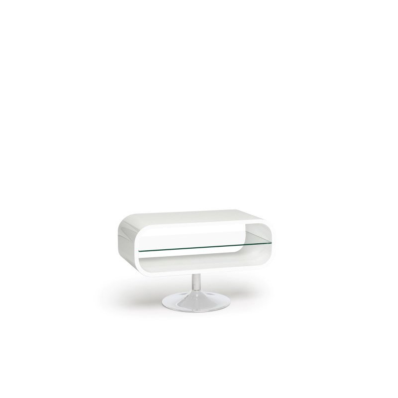 """Techlink Opod TV Stand with a High Gloss White """"O"""" Shaped Carcass and a Retro Chrome Pedestal for Screens up to 42"""" (OP80W)"""
