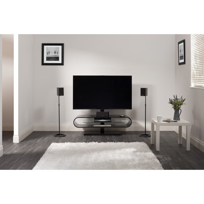 """Techlink Ovid Evo TV Stand with a Curved High Gloss Black Carcass and a Clear Glass Shelf with Bracket for Screens up to 60"""" (OV120TVB)"""