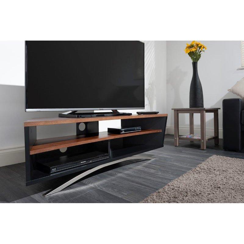 Techlink Prisma Satin Black & Walnut TV Stand (PR130SBW)